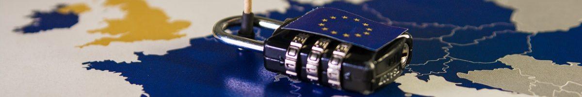 Kaart van de EU met privacy beeld